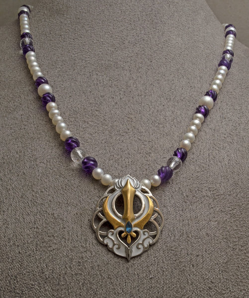 Chakra lotus Adi Shakti two-tone steel pendant on freshwater pearl, carved amethyst and faceted clear quartz bead necklace
