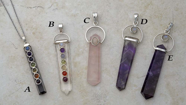 Black tourmaline, clear quartz, amethyst and rose quartz silver and gemstone point pendants