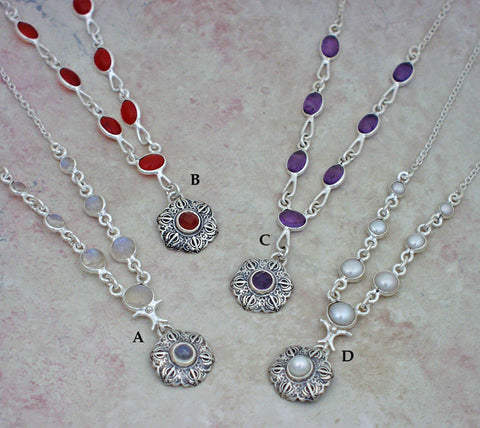 Gemstone and pearl necklaces with extra small Talisman pendants