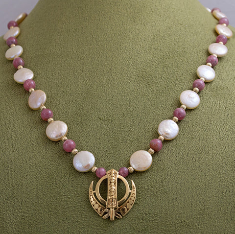 Gold pearl rhodocrosite Adi Shakti Power Necklace