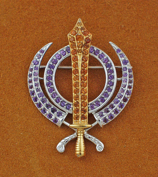 Faceted multi-gemstone adi shakti pin4