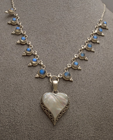 Heart shaped silver mother of pearl pendant on silver labradorite necklace