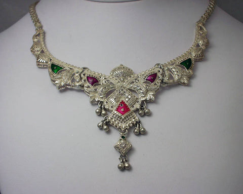 India filigree silver necklace2