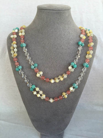 Golden Tridacna, Microcline, Quartz Crystal, Strawberry Quartz and Silver Bead Tantric Necklace