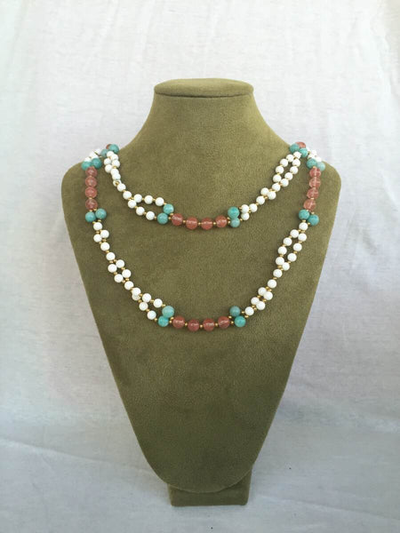 Tridacna Shell, Microcline, Strawberry Quartz and 24K Gold-filled Bead Tantric Necklace