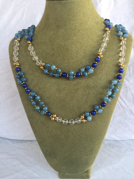 Aquamarine, Quartz Crystal, Lapis and 24K Gold-filled Bead Tantric Necklace