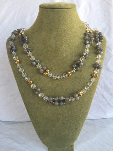 Labradorite, Quartz Crystal and 24K Gold-filled Bead Tantric Necklace