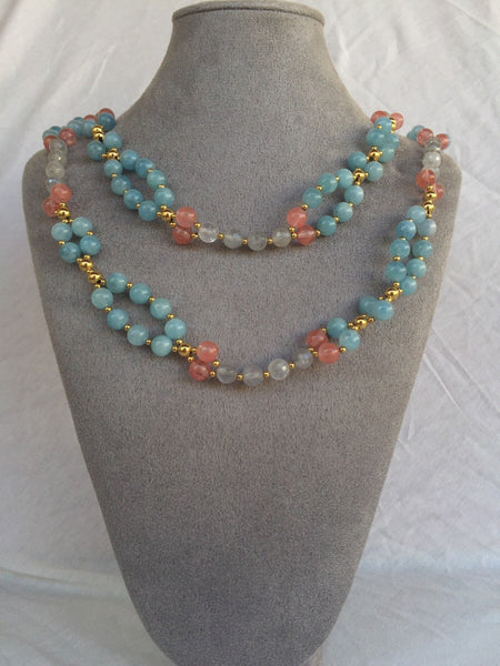 Aquamarine, Strawberry Quartz, Smoky Quartz and 24K Gold-filled Bead Tantric Necklace