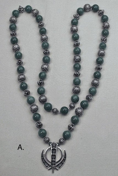 Jade and silver adi shakti necklace