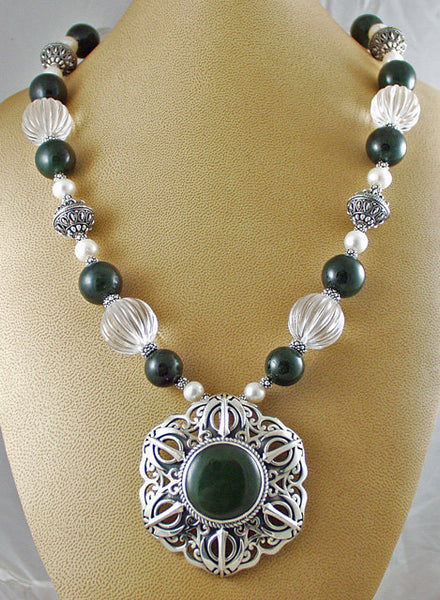 Jade, clear quartz, pearl and silver adi shakti necklace