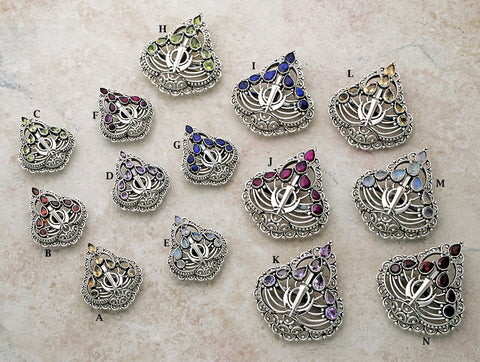 """Kalghi"" Filigree Gemstone Adi Shakti Pin Pendants"