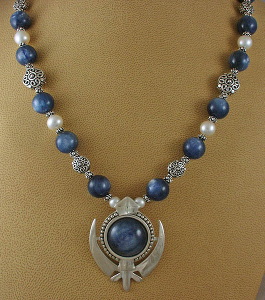 Kyanite, pearl and silver adi shakti necklace