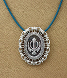 Elegant filigree bordered medium size adi shakti pin pendant