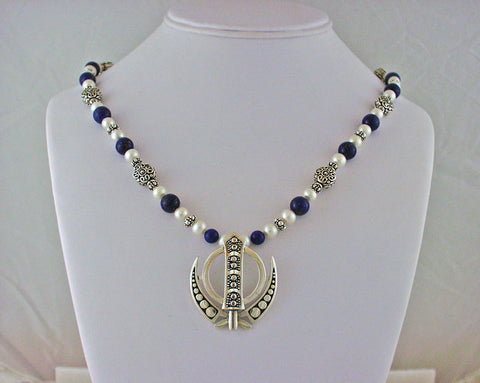 Elegant lapis, pearl, silver Adi Shakti Power Necklace