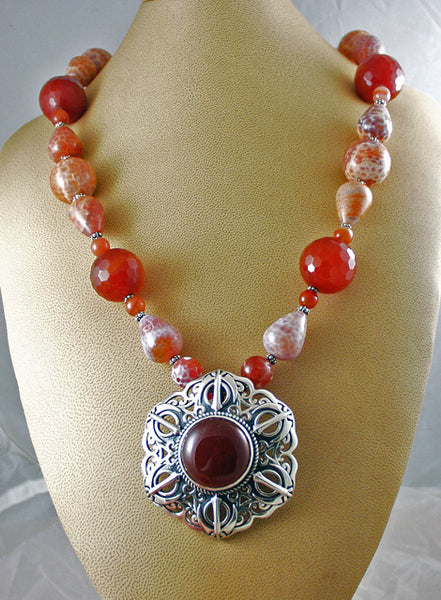 Carnelian, fire agate and silver Adi Shakti Talisman necklace
