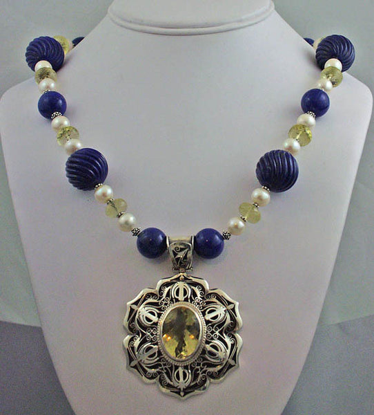 Pearl, citrine, lapis and silver necklace
