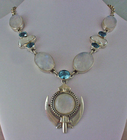 Large rainbow moonstone silver pearl topaz adi shakti necklace