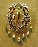 Gold adi shakti swan pin pendant with gems