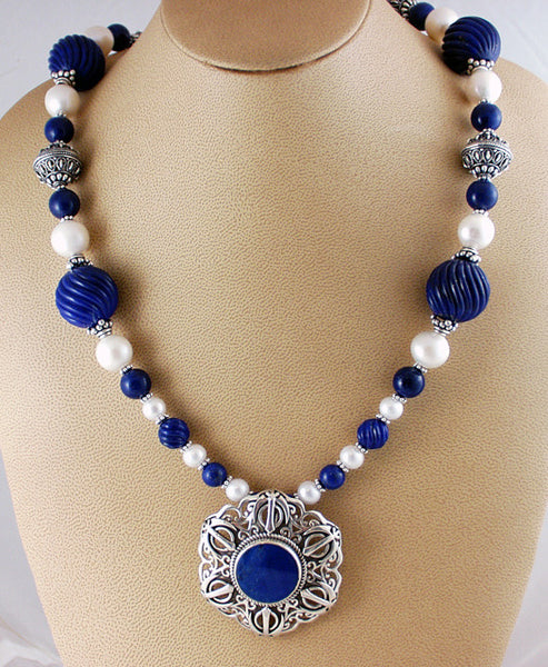 Lapis lazuli, pearl and silver Adi Shakti Taliman Power necklace