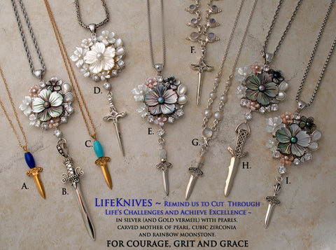 Mother of pearl,  gemstone, pearl, silver and gold vermeil LifeKnives necklaces