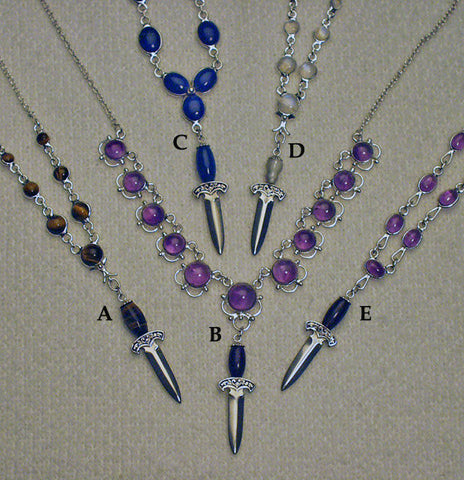 Gemstone handled mini dagger pendants with matching necklaces