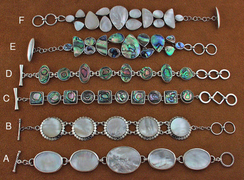 Silver mother of pearl and abalone bracelets