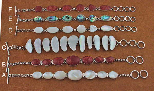 Silver, mother of pearl, coral and abalone bracelets