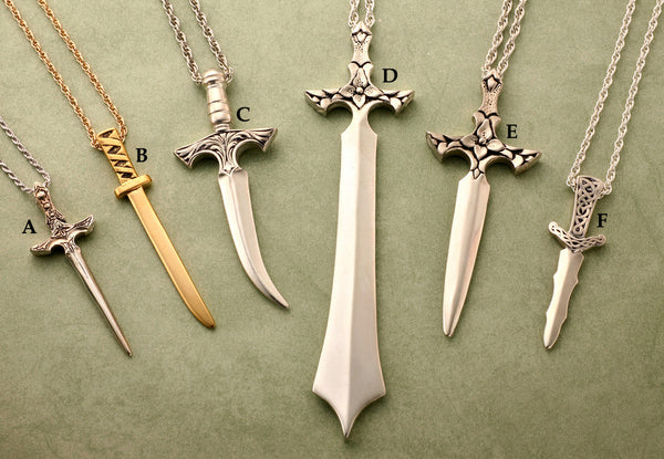 Medium and large solid metal dagger pendants