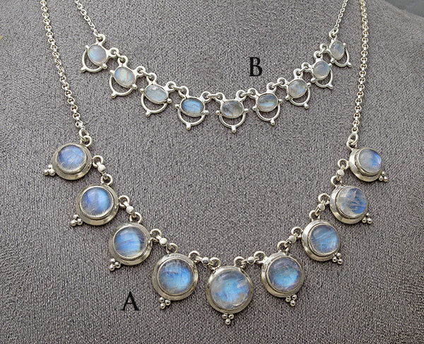 Elegant rainbow moonstone gemstone necklaces
