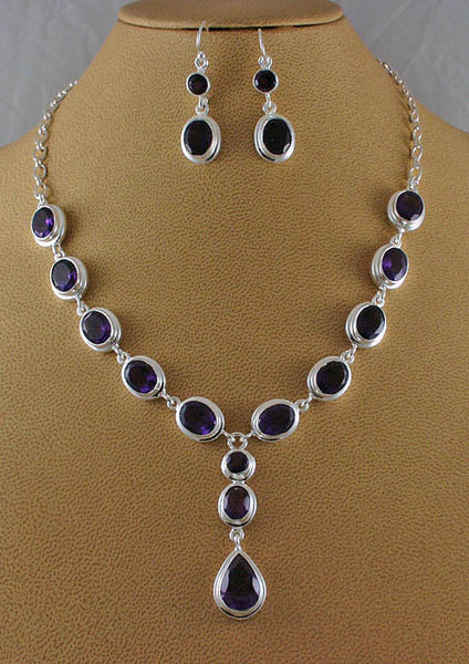 Elegant silver amethyst necklace and earrings