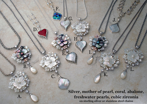Carved mother of pearl and freshwater pearl necklaces