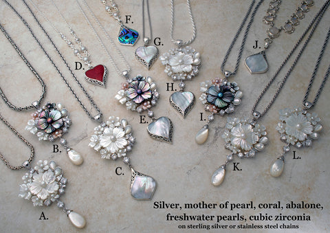 Mother of pearl and freshwater pearl necklaces