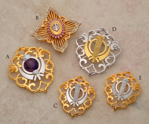 Diamond and Sapphire encrusted Filigree Adi Shakti Shields