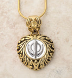 Sacred Heart Adi Shakti / Khanda pendants in stainless steel with natural gemstones