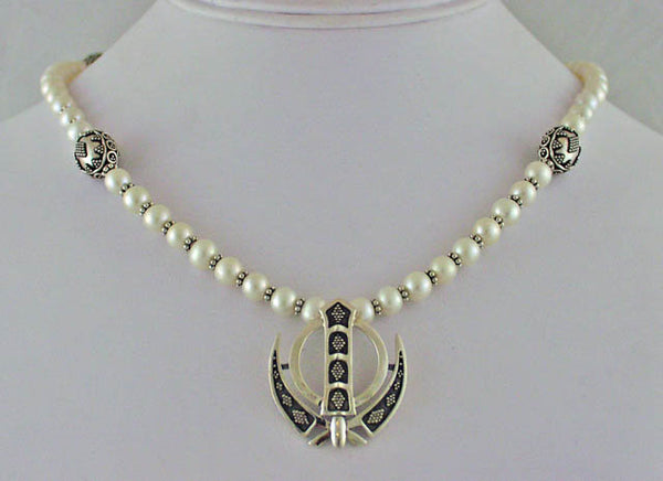 Freshwater pearl, silver Adi Shakti Power Necklace2