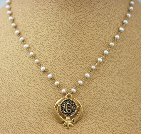 Pearl necklace with ekongkar adi shakti pendant