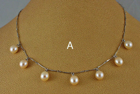 Simple elegant silver pearl necklaces