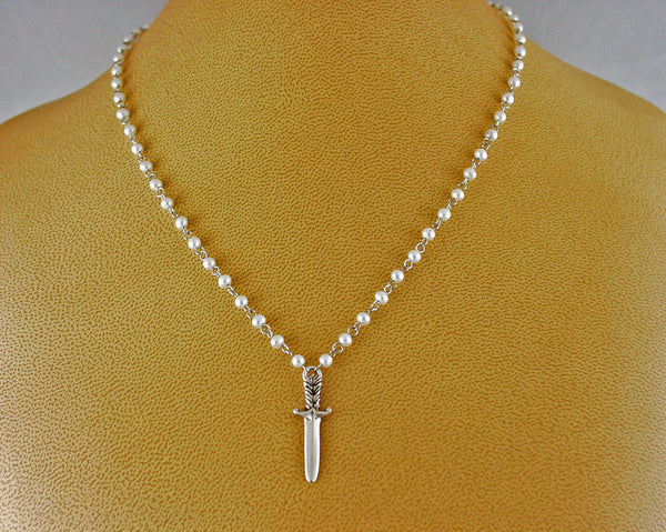 Silver, pearl and Plume dagger necklace