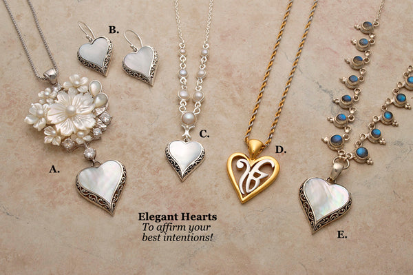 Silver, mother of pearl, freshwater pearl and gemstone heart necklaces and earrings