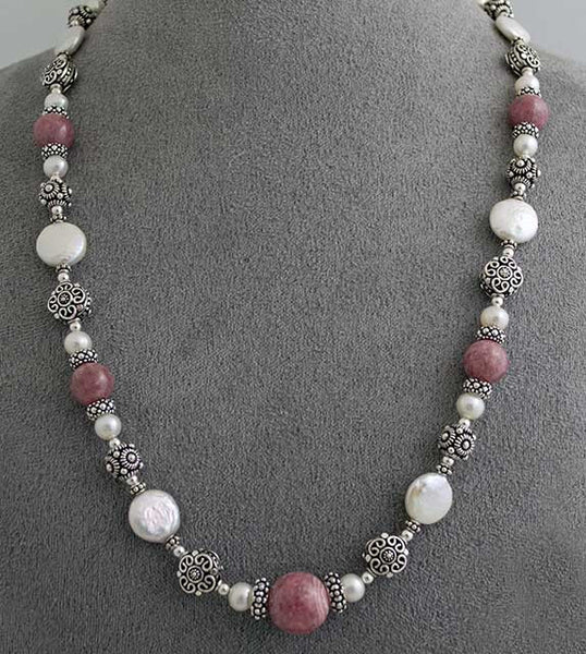 Rhodochrosite, pearl and silver Power Necklace
