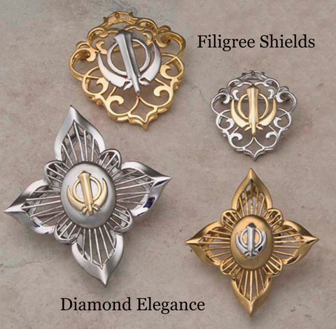 Stainless Steel Filigree Adi Shakti Shields and Diamond Elegance Adi Shaktis