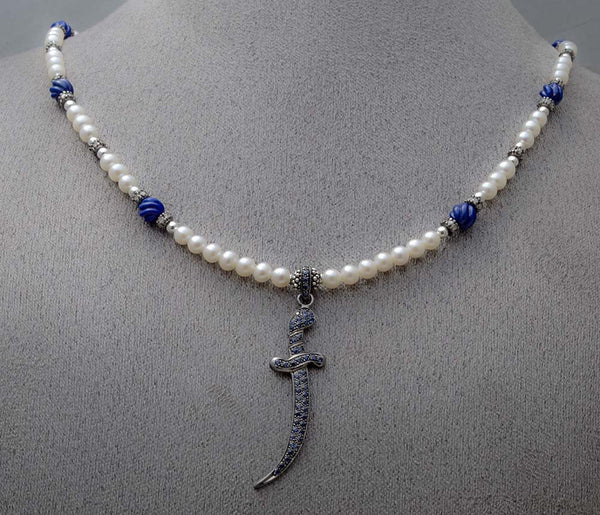 Natural blue sapphire dagger, diamond and pearl Power Necklace