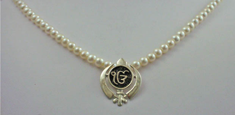 Pearl necklace with adi shakti ekongkar pendant