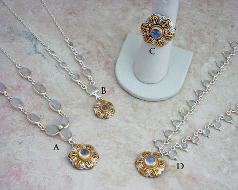 Rainbow moonstone necklaces, pendants and matching ring - with selective gold plating and in gold vermeil