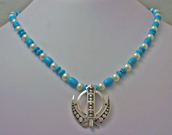 Silver, turquoise and pearl Adi Shakti power Necklace