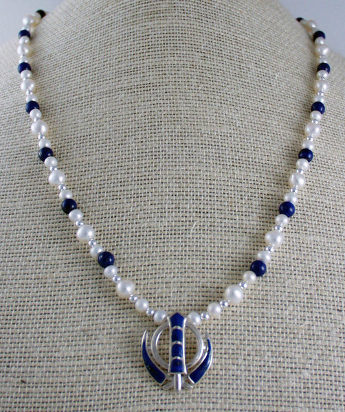 Pearl lapis and silver Power Necklace