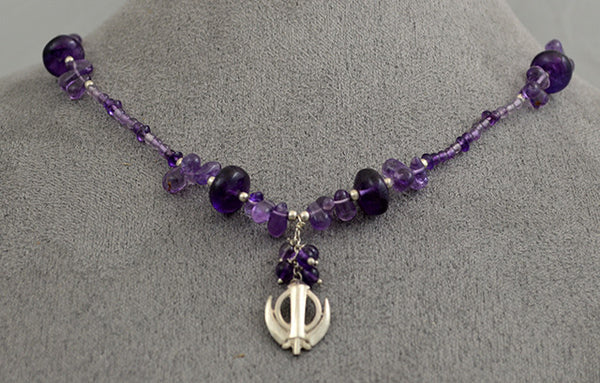 Silver and amethyst bead small Adi Shakti necklace
