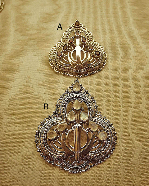 Filigree gemstone adi shakti pin pendant