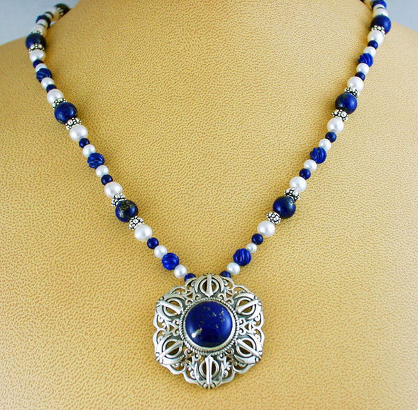 Lapis lazuli, pearl and silver Adi Shakti Taliman Power necklace2