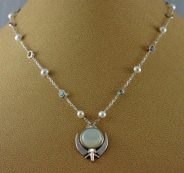 Silver, pearl and gemstone necklace with small mother of pearl adi shakti